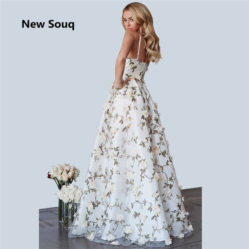 2019 Floral Print Tulle Prom Dresses Sexy Spaghetti V-neck Backless Prom Dress Floor Length A-Line Prom Evening Gowns