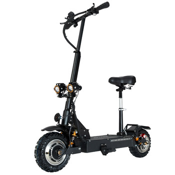 Scooter With Seat   Janobike Electric Scooter Double Drive With Seat 60V/3200W Adult Fast Folding Scooter 11 Inch Road Tire Electric City Scooter