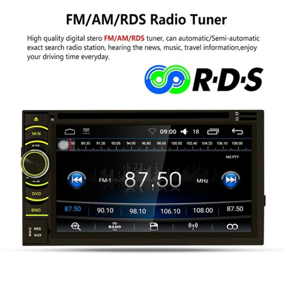 Car DVD Player 7 inch HD Touch Screen Bluetooth MP5 Player WiFi Module for Android 6.0 with GPS Radio with Rear View Camera Top