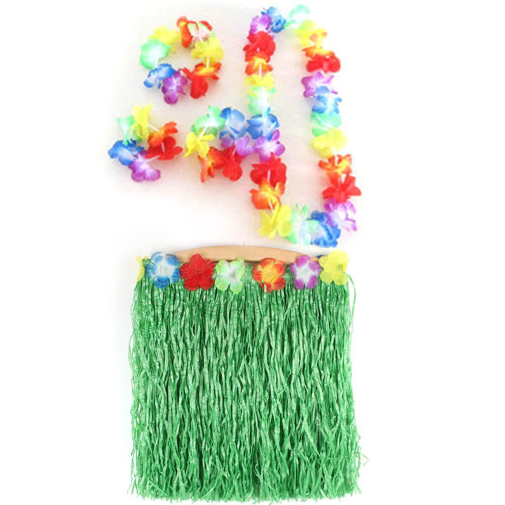 Kids Hawaiian Hula Dance Grass Skirt Lei Headband Wristband Fancy Dress Costume