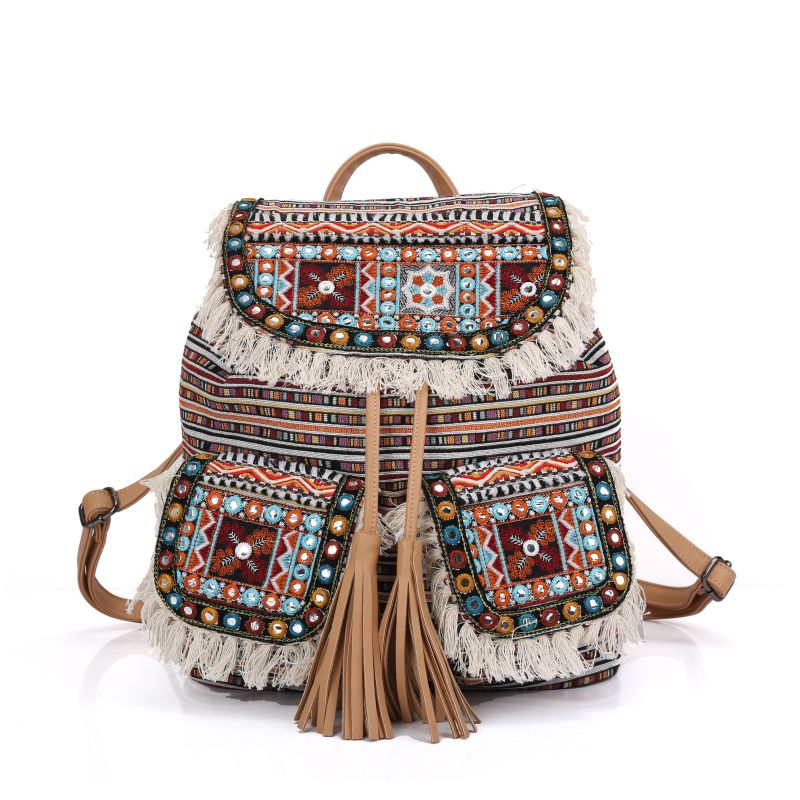 women Bohemian straw stripe backpack tassel Embroidery shoulder bag handmade Cotton Bag national hippie ethnic knapsack 2016 summer national ethnic style embroidery bohemia design tassel beads lady s handbag meessenger bohemian shoulder bag