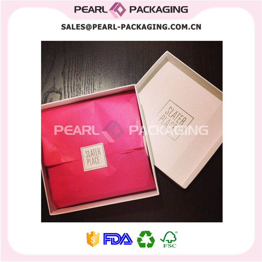 Apparel Gift Packaging, Cardboard Box with Matching Tissue Paper, Custom Sticker, 500pcs/lot