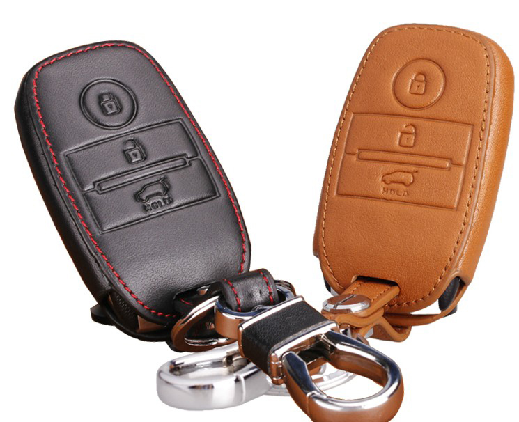 Llave del coche cubierta de cuero genuino caso clave de la cartera para KIA k3 Sorento 2015 Smart Key YT-80415-2