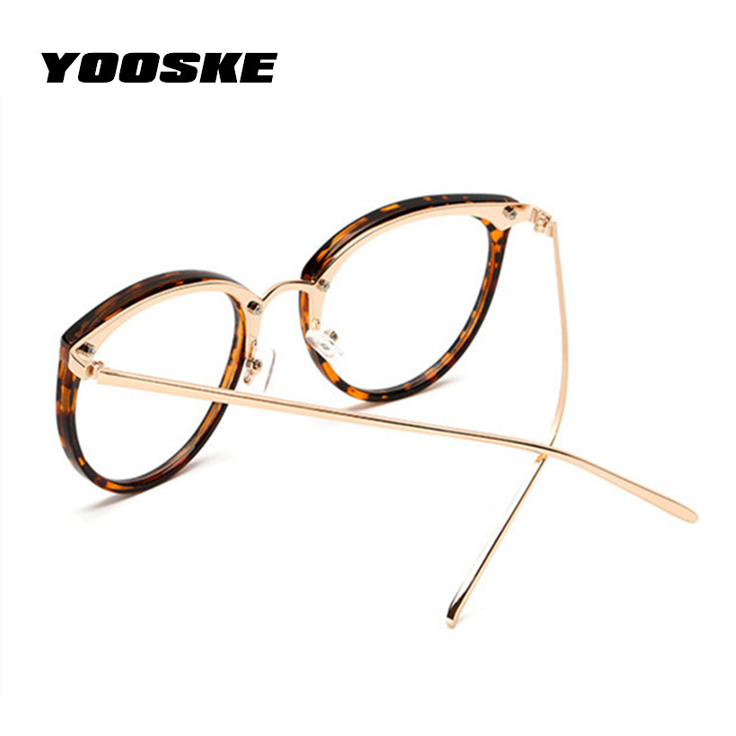 YOOSKE Oversized Clear Lens Glasses Men Women Retro Metal Frame ...