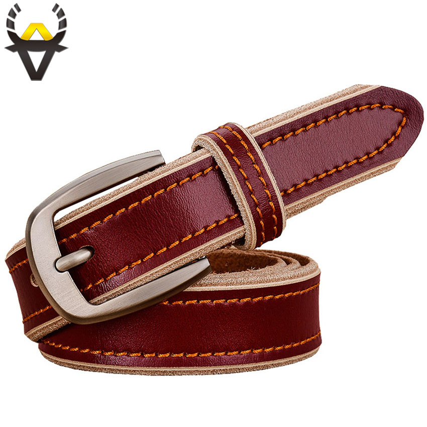 Casual Genuine leather   belts   for women 2.8CM wide vintage stitching strap female High quality Second layer cowskin for jeans Red