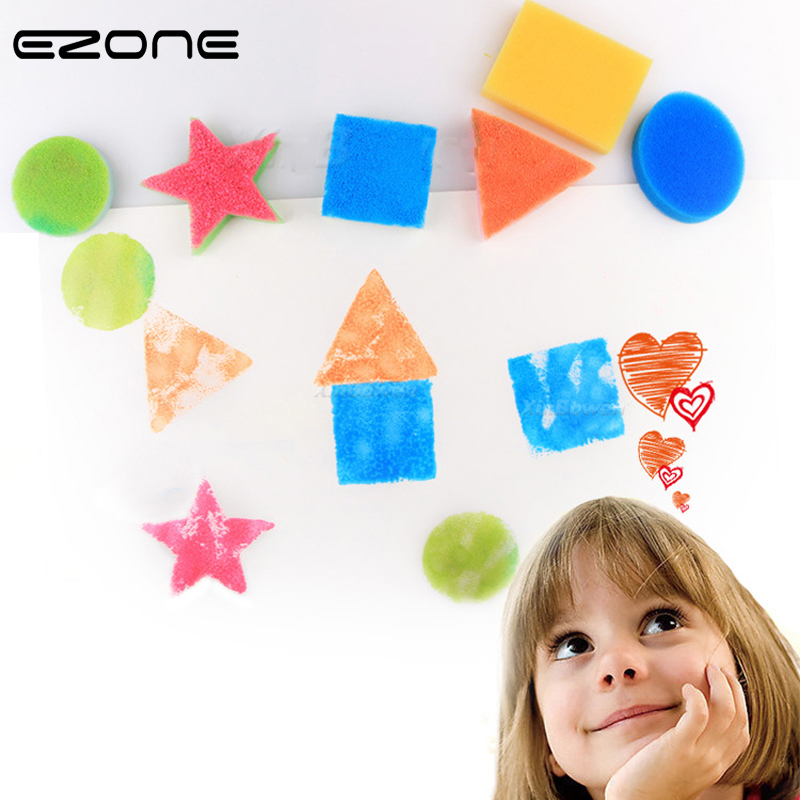 EZONE 6PCS DIY Sponge Seal Paint Brush Round/Oval/Square/Rectangle/Five-pointed Star/Triangle Shape For Children DIY Painting