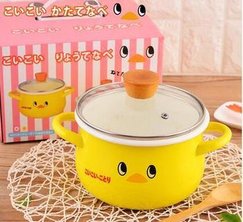 Japanese porcelain enamel small thickening double ears cartoon soup milk noodle pot baby food stewpot stockpot saucepan