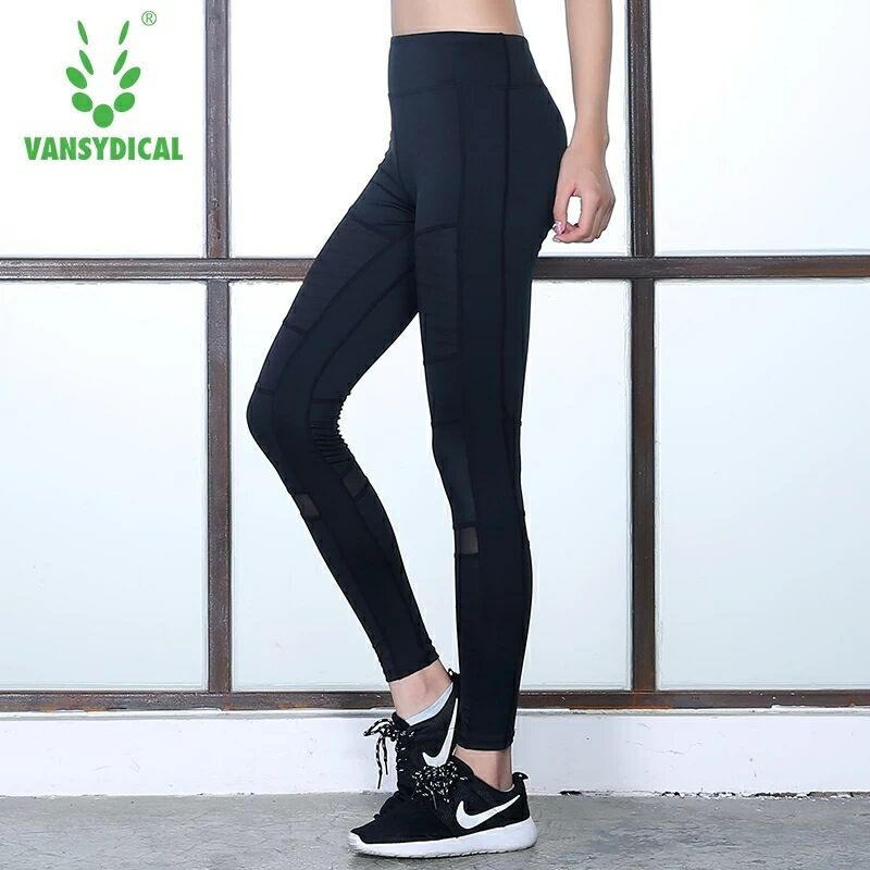 Women Running Sports Leggings Compression Pants Workout Gym Fitness Sportswear Polyester Bottom Black XL