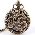 Бесплатная Доставка Античная Бронзовая Цветы Цветет Кварцевые Карманные Часы Кулон Ожерелье Часы Женщины Мужчины Женщины Подарки P260