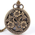 Free Shipping Antique Bronze Flowers Blooms Quartz Pocket Watch Necklace Pendant Watches Women Men Women Gifts P260