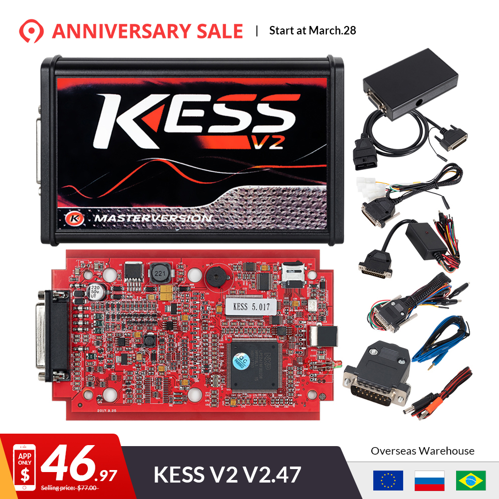 US $20 8 35% OFF|KESS V2 V5 017 Online V2 47 EU Red OBD2 Manager Tuning Kit  KTAG V7 020 4 LED Master Version K tag V2 25 BDM ECU Programmer-in Code