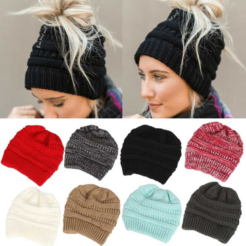 47f5b2c8 Detail Feedback Questions about 8 Colors Womens Ponytail Cap Warm Beanie  Knitted Hat Messy High Bun Ponytail Beanie Hat Fashion New on  Aliexpress.com ...