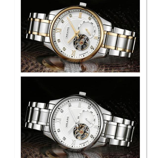 AILANG mince montre mécanique hommes montre-bracelet horloge automatique auto-vent en acier inoxydable 3Bar étanche affaires squelette montre
