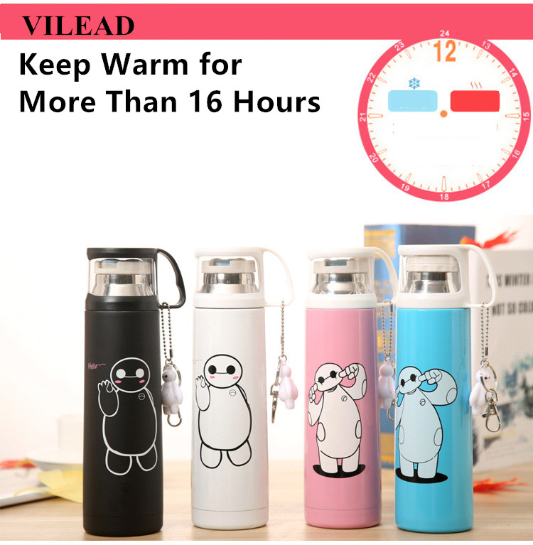 VILEAD Big Hero Stainless Steel Handgrip Thermos Mug Garrafa Termica Belly Cup Termos Vacuum Flasks with