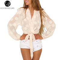 Lily Rosie Girl Sexy Deep V Polka Dot Boho Blouse Long Sleeve Lave Up Bow Belt