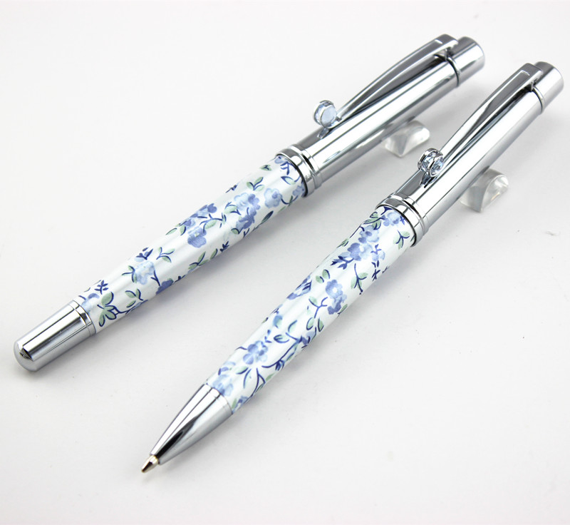 Luxury Princesse Grace Unique White silver clip Roller Ball Pen /Ballpoint Pen with gem school supplies writing brand pen hot classic signature pen set wooden crafts for company meeting gifts ball point pen roller ball pen for writing supplies p050