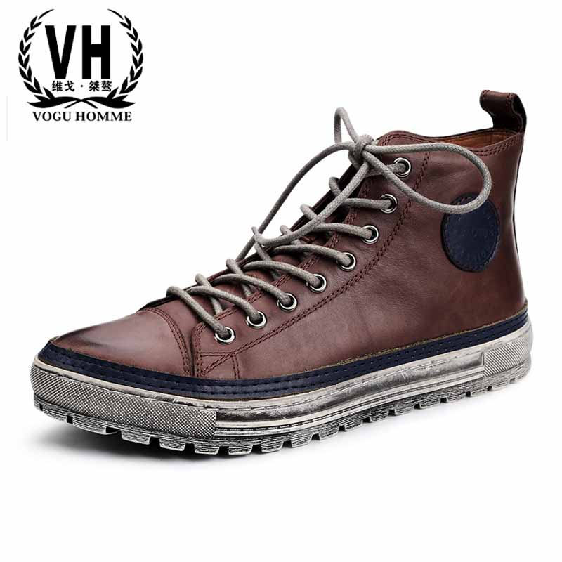 Men's British autumn winter new fashion high top shoes casual Martin boots men all-match cowhide Chelsea boots male breathable