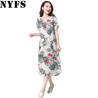 Vintage Plus Size Floral Print Cotton Linen Dress Women Short Sleeve Maxi Dress Casual Maternity Dress