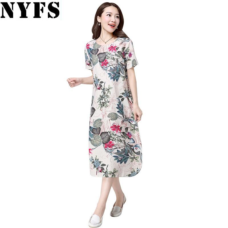 Vintage Large Size Floral Print Cotton Linen Dress Women short Sleeve Dress Casual Maternity Dress Vestidos Robe 2018 Dress