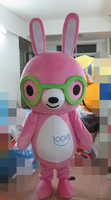 Pink Rabbit Mascot Costume Easter Bugs Bunny Fancy Dress Cartoon Character for Halloween party
