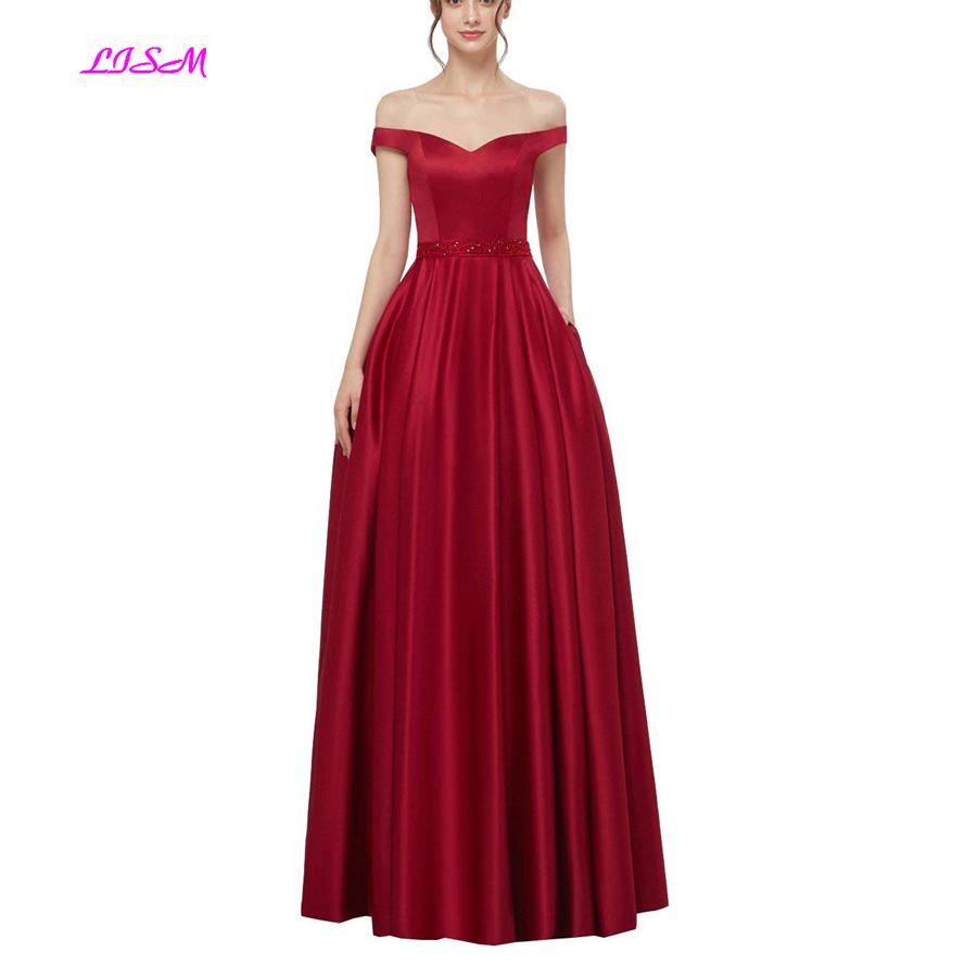 Elegant Off Shoulder Pleated Satin Evening Dress A-Line Long V-Back Formal Dress Champagne Sleeveless Party Gowns robe de soiree