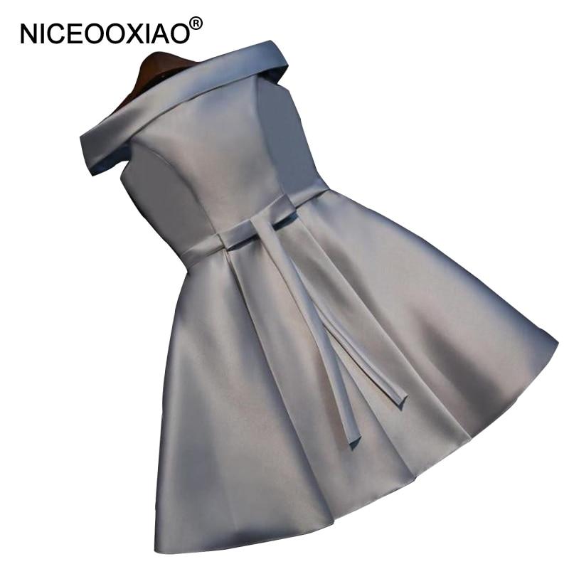 NICEOOXIAO 100% Polyester Kort Aftonklänning 2018 Ny Båtsnabb Satin Fest Bollklänning Kvinnor Elegant Formell Klänning Plus Storlek
