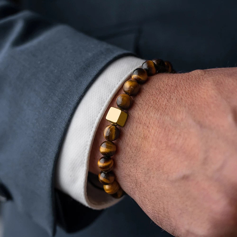 Men Bracelet Essential Charm Jewelry Fashion Luxury Golden & silver cube 8mm tiger eye stone bead handmade Bracelets Male homme