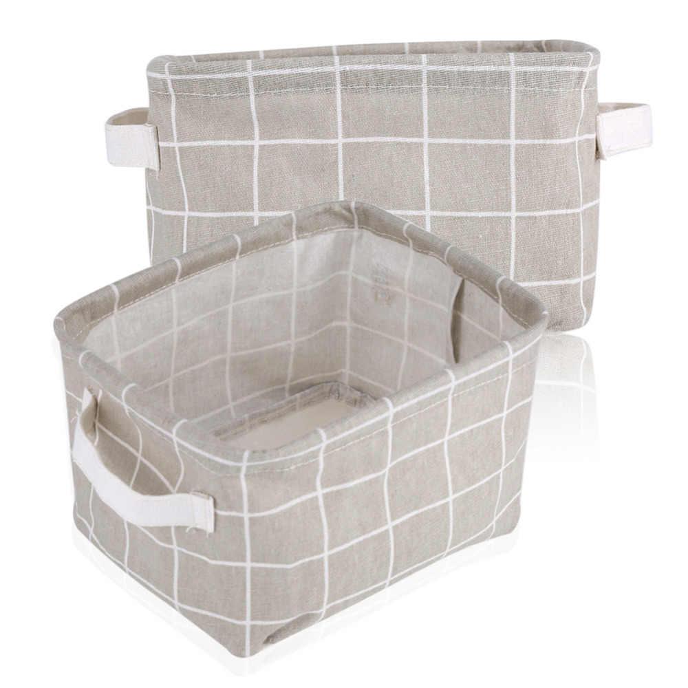 Настольная корзина для хранения водонепроницаемый Органайзер хлопок лен сумка для хранения нижнего белья Макияж Ювелирные изделия Косметическая ткань складной ящик для хранения