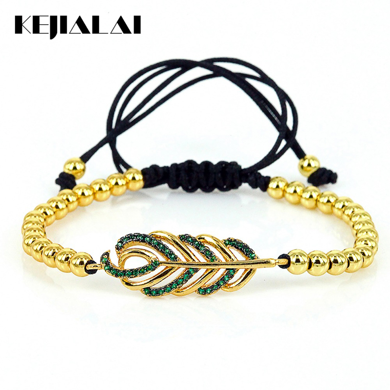 2016 New Style Fashion Braided Bracelet 24k CZ Maple Leaves & 4mm Round Beads Macrame Bracelet for Men Women Gift