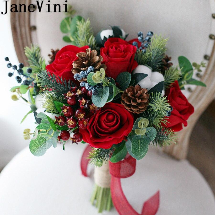 Christmas Wedding Bouquet Ideas: JaneVini Bouquet De Novio Red Bridal Bouquet Vintage