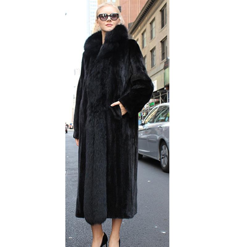 Manteau Hiver Mon Rex Plafonné Où La Black À 25 Fourrure Long Mince 12 Lapin Esprit Taille Femme Est De Large Solide Mode Plus Casual Réel IqfHFxYw5H