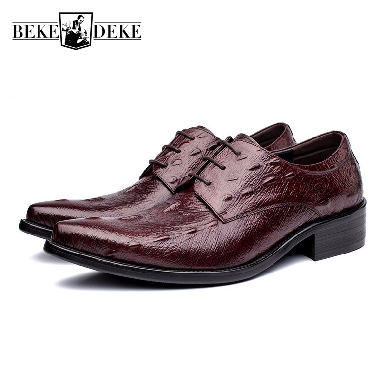 Top Brand Mens Classic Genuine Leather Business Shoes British Pointed Toe Wedding Dress Shoes Pumps Footwear Chaussure Homme top quality crocodile grain black oxfords mens dress shoes genuine leather business shoes mens formal wedding shoes
