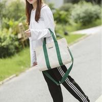 2019 New Women Shopping Bag Canvas Solid Hasp Big Capacity Shoppping Bag Tote Beach Bag Eco Reusable Folding Bag