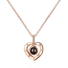 KOFSAC Romantic Projection I Love You Necklace For Women Charm 925 Sterling Silver Heart Number Lady Jewelry Fashion