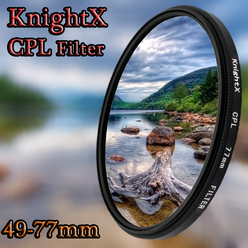 KnightX 49mm 52mm 55mm 58mm 67mm 77mm cpl Filter for Canon Nikon D5300 D5500 DSLR camera Lenses lens accessories d5100 d3300 CPL premium cpl camera lens filter 58mm
