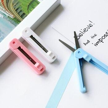 Deli Schreibwaren Student Tragbare Kind Sicherheit Schere Runde Kopf Hand Tasche Diy Band cutter Schreibwaren Schere Handwerk Schere