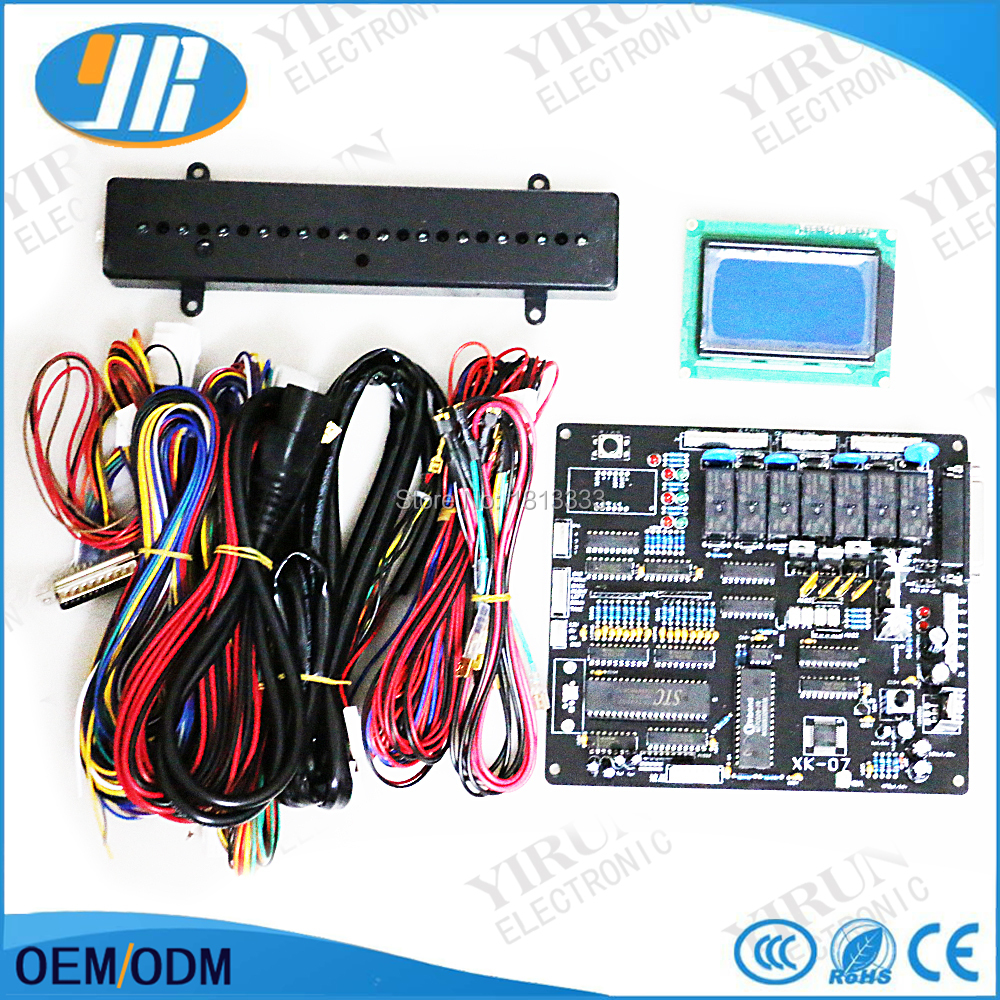 xk 07 english version claw crane game motherboard black board with wire  harness lcd display prize