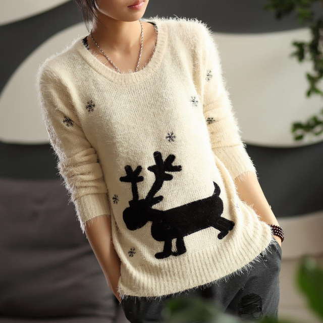 Free shipping 2016 new animal deer design fashion women winter sweaters sell like hot cakes