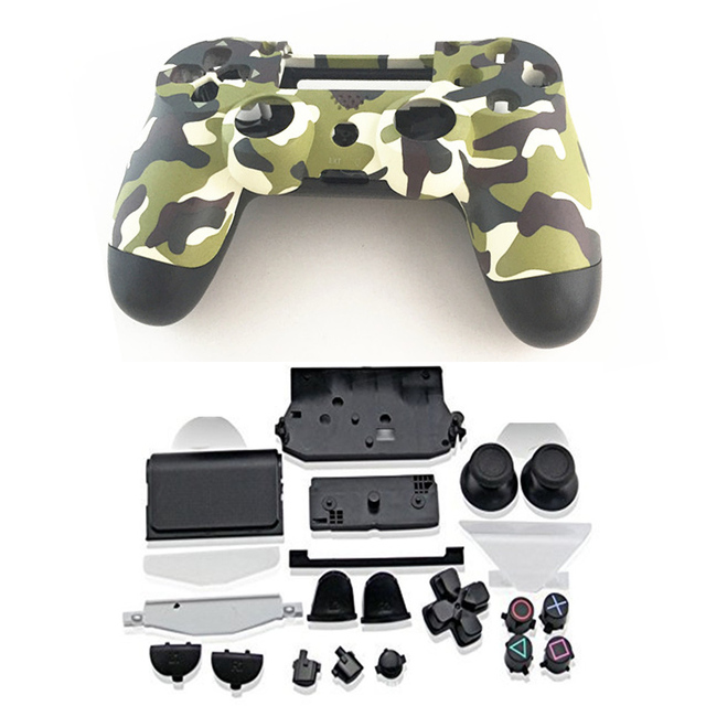 PS4 Full Housing Controller Shell Case Cover Mod Kit buttons For  Playstation 4 Dualshock PS V1 Replacement Camouflage Green