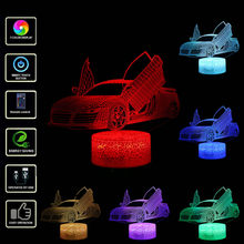 Open The Car Door 3D LED Night Lamp 7 Colors USB Hologram Decor Lamp Table Desk Lights Birthday Party Gift for Children Friends(China)