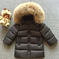 Winter Down Jackets For Girls Boys Warm Coat Kids Clothes Snowsuits Children Outerwear Clothing Big Natural Fur Hooded Jacket