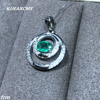 KJJEAXCMY boutique jewelry,Natural emerald ladies pendant 925 sterling silver inlaid chain