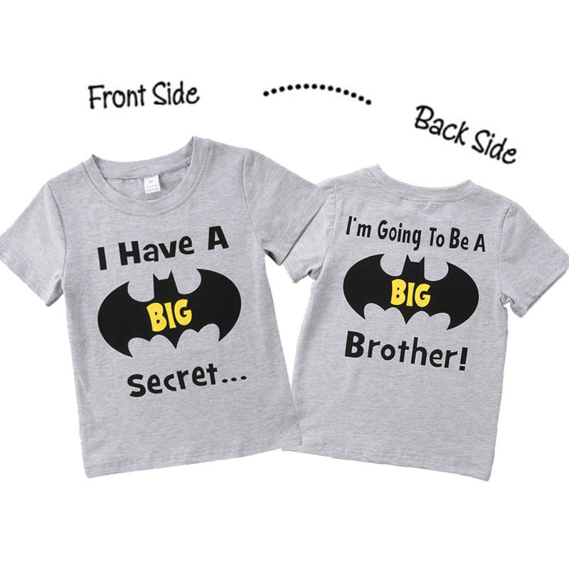 1-6Y Summer Toddler Kids Boys Clothes Summer Short Sleeve Batman Print Cartoon Big Brother T-shirt Tee Tops Children Clothes