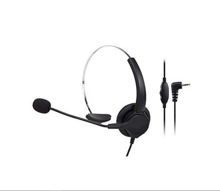 2.5mm Plug Call Center Telephone Headset Volume Control with Microphone Headphone Noise Cancelling for Home Office Phone