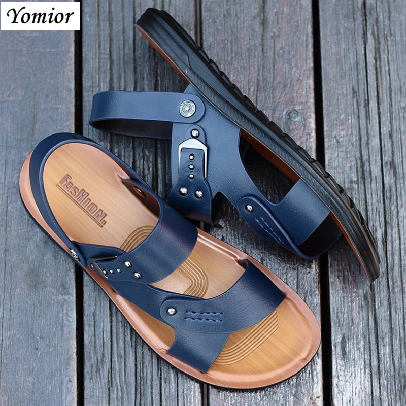 Yomior Hot Sale New Fashion Summer Leisure Beach Travel Men Shoes High Quality Leather Shoes Men's Sandals Breathable Walking anmairon shallow leisure striped sandals women flats shoes new big size34 43 pu free shipping fashion hot sale platform sandals