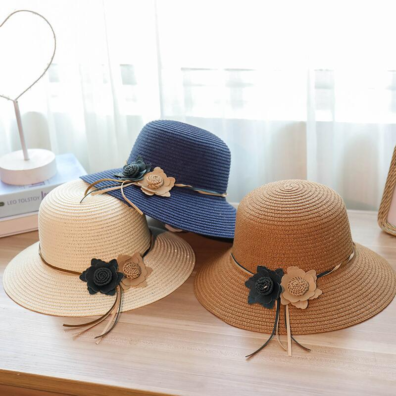 Round Top Wide Brim Straw Hats Summer Sun Hats for Women with Dot Lace Bowknot