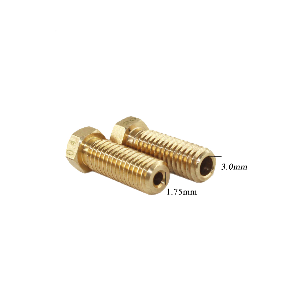 IsMyStore: 10Pcs 3D Printer Volcano Nozzle 0.2-1mm For 1.75mm High Flow Big Caliber Lengthen Copper nozzle Crater Volcano mouth