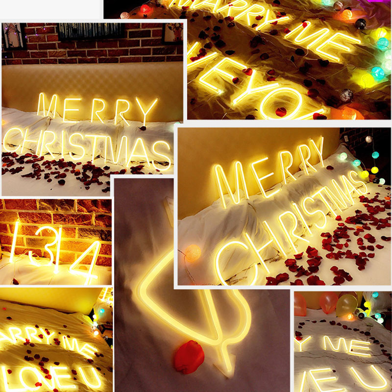 LED Holiday Neon Light DIY 26 Letter Alphabet Sign Light Indoor Holiday Lamp for Wedding Birthday Party Decor LED Light in Holiday Lighting from Lights Lighting