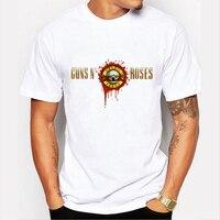 Guns N Roses T Shirt Men 2016 Music Printed Casual Tee Shirt Brand Clothing Cartoon Skull