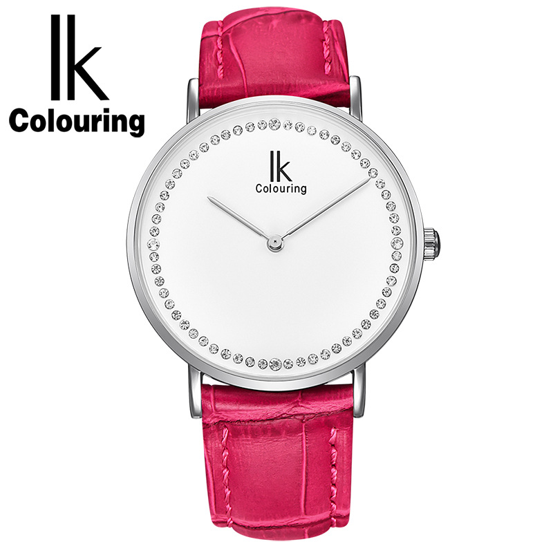 IK Colouring Women's Leather Band Analog Quartz Fashion Watch Womens Watches Top Brand Luxury with Gift Box все цены